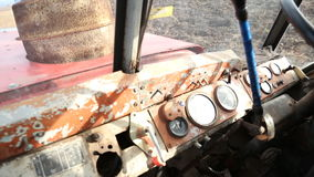 In the tractor cab stock video