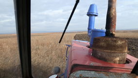 In the tractor cab stock footage