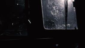 Tractor cab at night. Scene