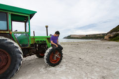 The tractor on the Cape Bridgewater Royalty Free Stock Image