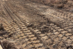 Tractor car tire track Royalty Free Stock Photo