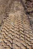 Tractor car tire track Stock Photos