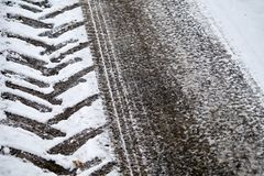 Tractor and car tracks in snow royalty free stock photo