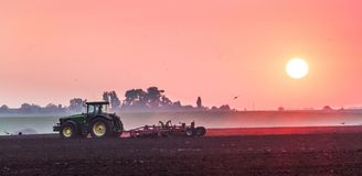 The tractor carries out soil treatment in the field of the farm in the morning during the sunrise_ stock photography