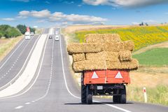 Tractor carring hay bale on the way of Edirne Turk Royalty Free Stock Image
