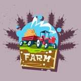 Tractor Carry Straw Bale Eco Fresh Farm Logo Stock Images