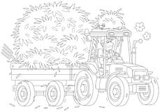 Tractor carrying hay. Smiling farmer driving his wheeled tractor with a trailer of hay, a black and white vector illustration in a cartoon style for a coloring Stock Photography