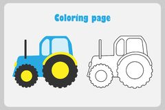 Tractor in cartoon style, coloring page, education paper game for the development of children, kids preschool activity, printable royalty free illustration