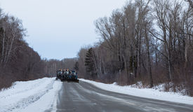 Tractor clean snow from the road. Russia. Chuiski Royalty Free Stock Images