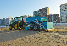 Tractor for cleaning of beaches Royalty Free Stock Photos