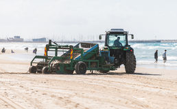 Tractor cleans the sand Stock Photography