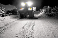 Tractor clearing snow Stock Photo