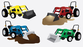 Tractor clip art colorful. Tractor Clip art with varied colors and buckets with and with out dirt vector illustration Royalty Free Stock Photo