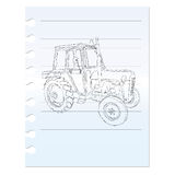 Tractor clip art on paper. On white background Royalty Free Stock Photos