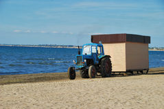 Tractor on coast Royalty Free Stock Images
