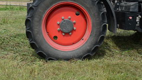 Tractor collect hay field stock video footage
