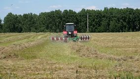 Tractor collects mown hay. Farm work in the field. Tractor collects mown hay stock video footage