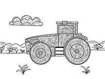 Tractor-coloring book stock vector. Illustration of chimney - 35384425