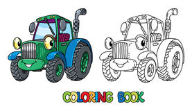 Funny small tractor with eyes. Coloring book Stock Image