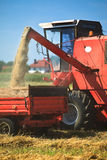 Tractor and combine harvesting. Wheat on a field Royalty Free Stock Photography