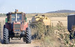 Tractor and combined harvester Stock Photo
