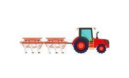 Tractor con el arado del icono del vector del equipo ilustración del vector