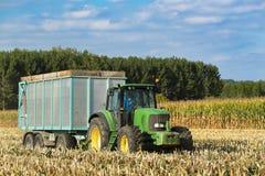 Tractor con el remolque en un campo del maíz trillado Imagen de archivo libre de regalías