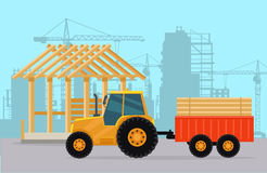 Tractor. Construction. Process of Building House. Stock Image