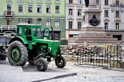 Tractor on construction site Stock Photos