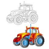 Tractor in contour en in kleur stock illustratie