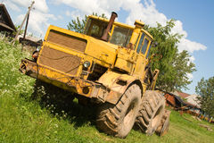 Tractor at countryside. Tractor after work Royalty Free Stock Photos