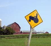 Tractor Crossing Sign Stock Photography