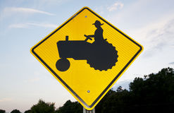 Tractor Crossing Sign Stock Photos