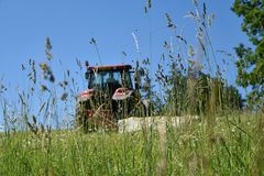 The tractor cuts the grass on the meadow. Focus on grass. Stock Photos