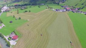 Tractor Cutting The Crop, Haying, Farming, Agriculture, aerial view stock video