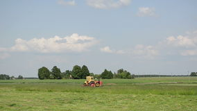 Tractor cutting grass stock video