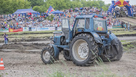 Tractor with a damaged wheel on the Bizon Track Show Stock Images