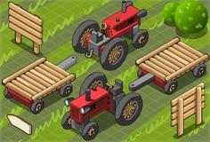Tractor de granja rojo isométrico en dos posiciones Foto de archivo
