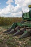 Tractor de la cosechadora en campo de maíz Imagen de archivo libre de regalías