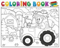Tractor del libro de colorear cerca del tema 1 de la granja Foto de archivo