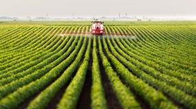 Tractor die een gebied bespuit royalty-vrije stock fotografie