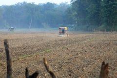 Tractor die een padieveld in Nepal ploegen stock foto