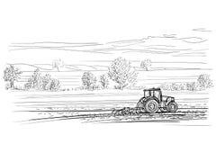 Tractor die in gebiedsillustratie werken Vector Royalty-vrije Stock Afbeelding