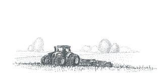 Tractor die in gebiedsillustratie werken Vector Eps 10 Royalty-vrije Stock Fotografie