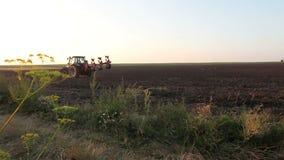 Tractor die het zwarte gebied van de aardeploeg ploegen bij zonsondergang stock videobeelden