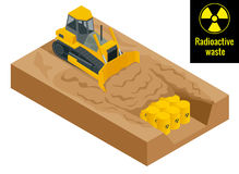 The tractor digs in drums with radioactive waste in yellow barrels. Radioactive danger concept. Flat 3d vector. Illustration. Environment protection stock illustration