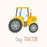 Tractor divertido del amarillo de la historieta Imagen de archivo
