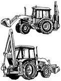 Tractor. Drawing on paper. Preview tractor from two perspectives Stock Images