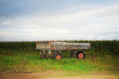 Tractor-drawn trailer. On meadow in front of a cornfield Royalty Free Stock Images