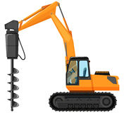 Tractor with drill for digging hole Stock Photo